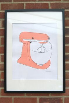 A2 Silk Screen Print of Classic Food Mixer in Pink by elliedraws, £30.00