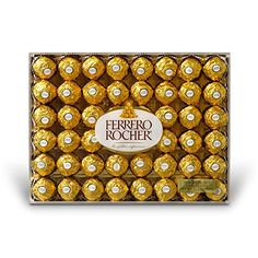 Ferrero Rocher Fine Hazelnut Chocolates, 48 Count, Chocolate Gift Box for Valentines Day candy, oz by Ferrero Rocher Praline Candy, Ferrero Rocher Chocolates, Coconut Candy, Chocolate Gift Boxes, Chocolate Hazelnut, Chocolate Filling, Gourmet Recipes, Valentine Day Gifts, Gift Guide