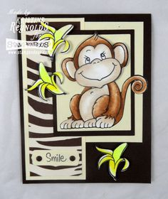 Smile!   Monkey, banana,   Stampendous - Jumbo Jungle Friends cling stamp set