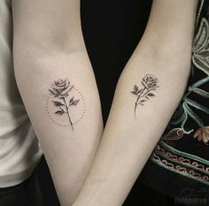 Matching rose tattoos on forearms by Calvin Grxsy Forearm Flower Tattoo, Small Forearm Tattoos, Small Tattoos, Tiny Rose Tattoos, Dream Tattoos, Body Art Tattoos, Tatoos, Tattoo Pequeños Mujer, Meaningful Tattoos For Couples