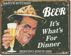 Personalized Beer For Dinner Tin Sign - $29.99 Always free personalization.