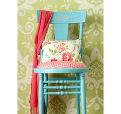 chair for small guest bedroom- light pink and navy