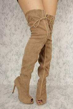Taupe Perforated Cut Out Peep Toe Thigh High Heel Boots Faux Suede
