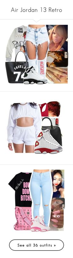 Air Jordan 13 Retro by nasciaboo ❤ liked on Polyvore featuring Givenchy, Retrò, Calvin Klein, grey, redd, whiteee, MCM, Michael Kors, WearAll and beauty