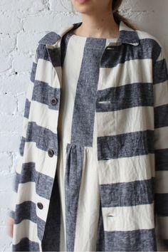 Ichi Herringbone Flannel Striped Coat