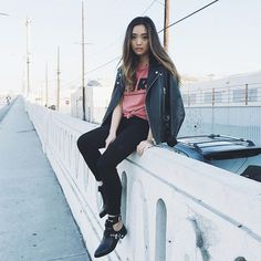 Jenn Im @imjennim Instagram photos | Websta, biker jacket, t-shirt