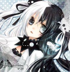 anime heterochromia / odd eyes black white