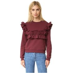 MSGM Ruffle Cotton Sweatshirt ($205) ❤ liked on Polyvore featuring tops, hoodies, sweatshirts, burgundy, long sleeve tops, red top, long sleeve sweatshirt, relaxed fit tops and flounce tops