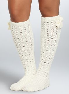 Plus Size Wide Calf Boot Socks - Plus Size Knee-High Bow Socks