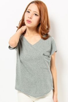 HEAVEN AND EARTH (Heaven and Earth)  V-neck embroidery NEP input T-shirt