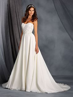 Alfred Angelo Style 2562: satin wedding dress featuring scooped neckline and natural waist bodice