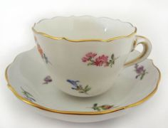 Meissen Scattered Flowers Demitasse Cup and Saucer