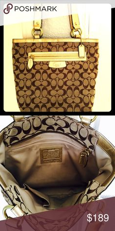 💥NEW LOW PRICE💥!!!!!AUTHENTIC COACH PURSE!! GET IT NOW BEFORE IT GOES!! Stunning, gold Coach purse! Almost new! Great condition! Just reduced price! Comes with dust bag! Get it before someone else does!!🔥🔥 Coach Bags Shoulder Bags