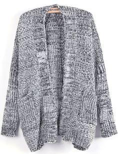 Black Long Sleeve Pockets Knit Cardigan - Sheinside.com