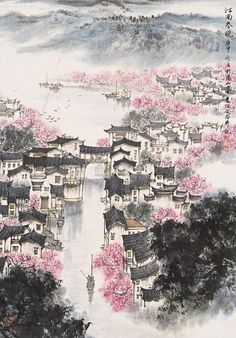 changan-moon:   Traditional Chinese painting, 江南春晓... - Wabi-sabi 佗 寂