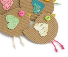 BEAKY BIRD Handmade Embellishments, Paper Birds for Junk Journals, Smash Books, Scrapbook Birds - Set of 5