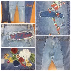 denim jeans embroidery repair embroidery flower doodle embroidery zipper flame graphic redone denim patchwork pearl denim DIY, customized jeans, spring18, H4Jeans, Pearls, vintage, recycle jeans.