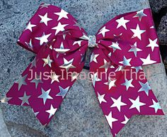 """3"""" Width Cheer Bow 7""""x6.5"""" Texas Size Cheer Bow Maroon with Silver Foil Stars by JustImagineThatBows on Etsy"""