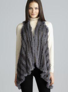 Sharktail Hem Flyaway Fur Vest