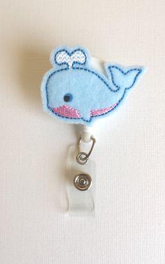 Light Blue Whale Felt Badge Reel  Retractable by SimplyReelDesigns, $6.00