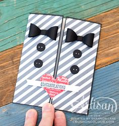 Congratulations to Two Grooms - same-sex marriage card! Punch art from Stampin' Up! by Shannon Lane/CrushOnColour