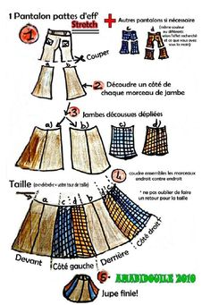 TRANSFORMER UN JEAN EN JUPE - Amabidouille Redo Clothes, Clothes Crafts, Bag Patterns To Sew, Sewing Patterns, Transformers, Recycle Jeans, Creation Couture, Couture Sewing, Altering Clothes