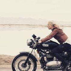 """Nice shot with @jessicahaggett #motorcycle #motorbike #triumph #womenwhoride #girlbike #lake #outdoor #ride #girl #leatherjacket #tracker #scrambler #caferacer #road #freedom #lifestyle #wayoflife..."