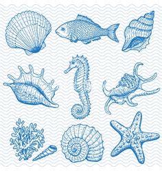 Sea hand drawn vector on VectorStock®
