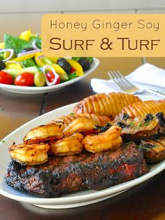 Honey Ginger Soy Surf and Turf - a sweet, salty, warm and slightly spicy marinade does double duty on prime rib steak and succulent shrimp in this simple but delicious version of surf and turf, fit for any summer occasion or as a Fathers Day special menu.