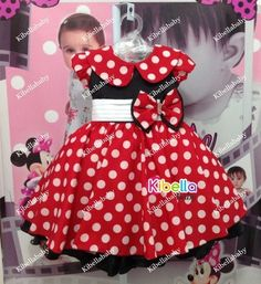 Vestido Minnie com Gola Vermelho Disney Luxo - Tam 1 / 3
