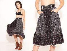 70s Gypsy Skirt Gunne Sax Black Floral Boho Corset by SHOPAT851, $68.00