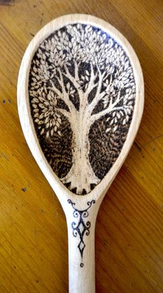 Wooden spoon, decorated with pyrography, can be personalised