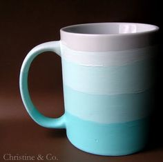 Super Easy Ombre Mug!  Just use a wide square brush and 4 or 5 shades of blue!
