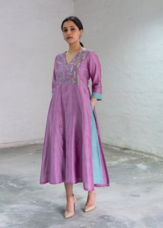Lavender & Aqua Silk Chanderi Dress with Handwork Silk Kurti Designs, Simple Kurta Designs, Stylish Dress Designs, Kurta Designs Women, Kurti Designs Party Wear, Blouse Designs, Churidar, Anarkali, Lehenga