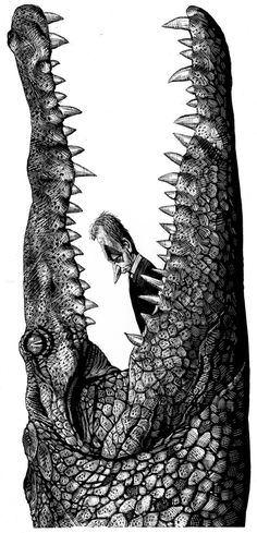 Ricardo Martinez Scratchboard scaly crocodile eating man black and white art Art And Illustration, Crocodile Illustration, Satirical Illustrations, Illustrations Posters, White Art, Black White, Scratchboard Art, Tachisme, Arte Pop