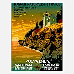 Acadia National Park Art Vintage Travel Poster---look for the parks we've been to together in a smaller print for man room? National Park Gifts, Us National Parks, Vintage National Park Posters, Vintage Travel Wedding, Park Art, Acadia National Park, Vintage Travel Posters, The Great Outdoors, Poster Prints