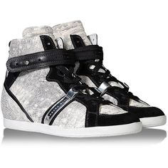 Barbara Bui High-Tops & Trainers ($275) ❤ liked on Polyvore featuring shoes, sneakers, chaussures, beige, print sneakers, round toe sneakers, beige sneakers, two tone shoes and high top shoes