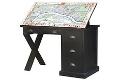 $699.00-Cartographer's Desk, Weathered Black on OneKingsLane.com 47W X 24D X 32H