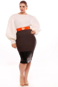 MUST HAVE!!!!!!!!!!!! JIBRI Plus Size Rae Blouse $120 and JIBRI Plus Size High Waist Pencil Skirt w Faux by jibrionline, $140.00
