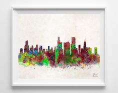 Chicago Skyline Watercolor Illinois Print US City by InkistPrints, $11.95