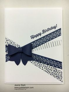 Stampin' Up! Birthday card using washi tape and Bow Puilder Punch.