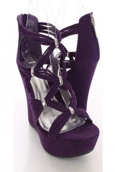 Purple Faux Suede Strappy Wedges