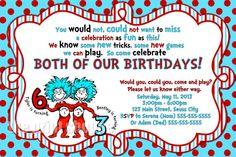 Thing 1 Thing 2 Birthday Invitation  Dr by ThePrintShoppeOnEtsy, $10.00