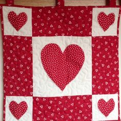Red hearts wallhanging