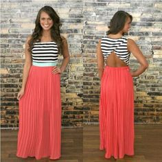 Splicing Stripe Scoop Sleeveless Empire Chiffon Long Dress