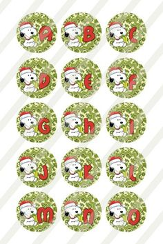 Snoopy Alphabet for bottlecaps 1 inch round sheet 558 Scrabble Tiles, Christmas Decorations, Holiday Decor, Digital Collage, Dog Tags, Alphabet, Snoopy, Scrapbook, Crafts