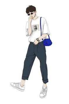 Boy Illustration, Character Illustration, Anime Art Girl, Anime Guys, Boy Fashion, Fashion Art, Arte Sketchbook, Boy Drawing, Cartoon Boy