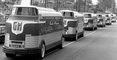 n the GM built the Futureliner, a 15 ton, locomotive-like bus. Station Wagon, Heritage Center, Jet Engine, Gasoline Engine, Gmc Trucks, Chevrolet Trucks, Future Car, General Motors, Automotive Design