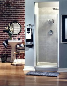 Binswanger Glass | Framed Swing Shower Door with chrome finish and clear glass