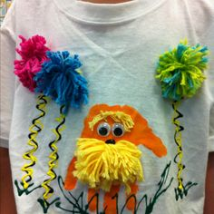 our lorax tees kindergarten made to wear to see The Lorax today! the kinders love to paint their handprints! Dr Seuss Activities, Preschool Themes, Preschool Crafts, Crazy Hat Day, Crazy Hats, Dr Seuss Costumes, Diy Costumes, Dr Seuss Week, Dr Suess